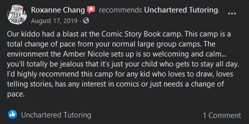 Roxanne Chang's Facebook recomnedation of Unchartered Tutoring. White text on a black background. Profile image is of Black Lives Matter sign.